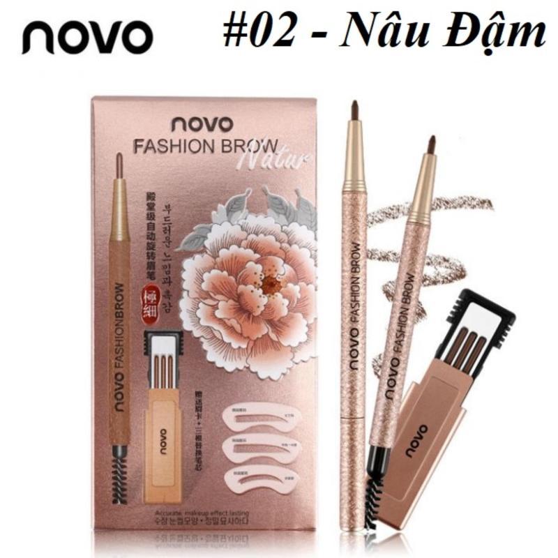 Bộ Chì Mày Định Hình Novo Fashion Brow + TẶNG Kèm 3 Khuôn Kẻ Mày Và 3 Đầu Chì Thay Thế
