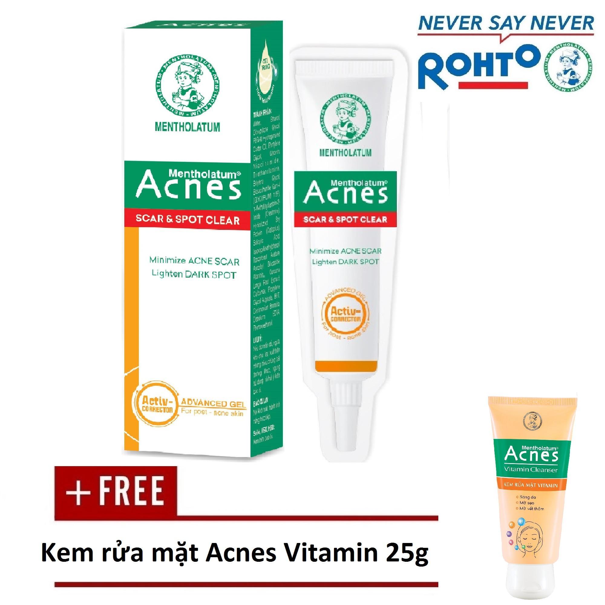Hình ảnh Gel chuyên biệt sáng thâm mờ sẹo Acnes Scar and Spot Clear 10g + Tặng Kem rửa mặt Acnes Vitamin 25g