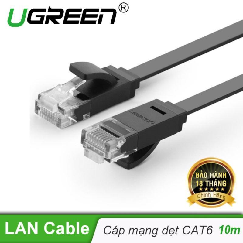 Dây mạng 2 đầu đúc Cat6 UTP dây dẹt dài 10m UGREEN NW104 11240 - Hãng phân phối chính thức
