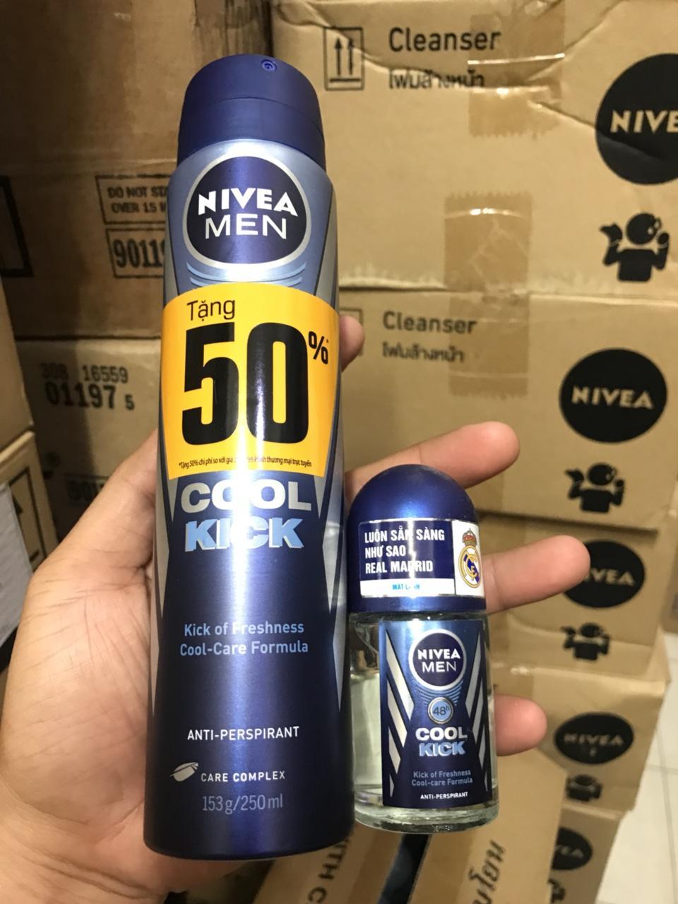 Hình ảnh Xịt khử mùi Nivea Men Cool Kick mát lạnh tăng 50% dung tích chai 250ml tặng lăn ngăn mùi nivea 25ml