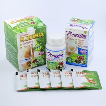 Liệu trình Trà giảm cân Slimomax và viên uống giảm cân đẹp da Newslim Beauty nhập khẩu