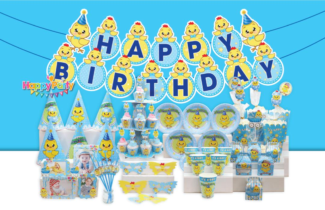 Hình ảnh Set sinh nhật chủ đề gà xanh