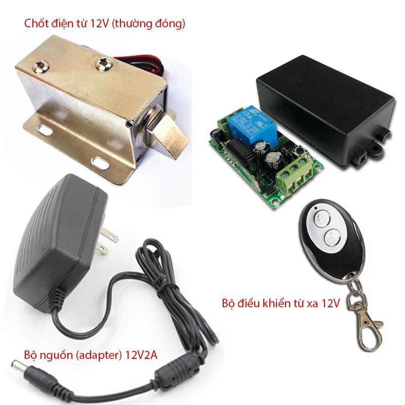 Bộ khóa cửa điện từ thường đóng, bộ điều khiển từ xa 12V và bộ nguồn (adapter) 12V2A