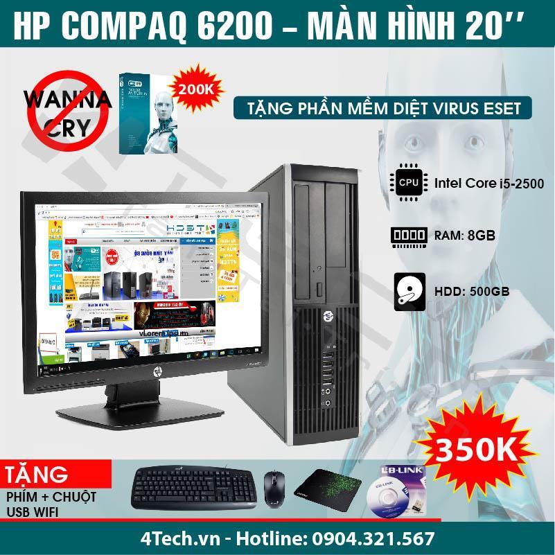 Máy tính đồng bộ HP Compaq 6200 Core i5 2500, 8GB RAM, 500GB HDD, màn 20 inch - Hàng nhập khẩu + Tặng 1 bộ bàn phím, chuột, usb wifi.