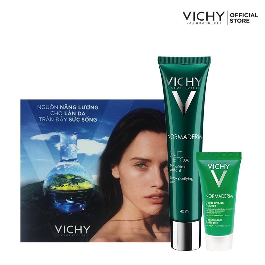 Bộ sản phẩm chăm sóc da dầu mụn ban đêm Vichy Normaderm Night Detox 40ML