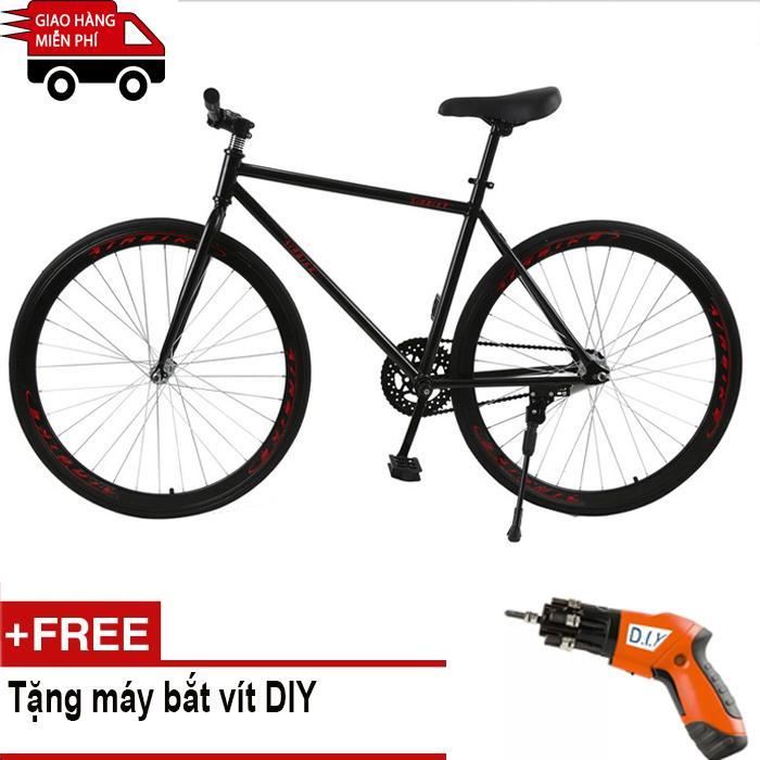 Mua Kachi - Xe đạp Fixed Gear Air Bike MK78 (đen) + Tặng máy bắt vít DIY