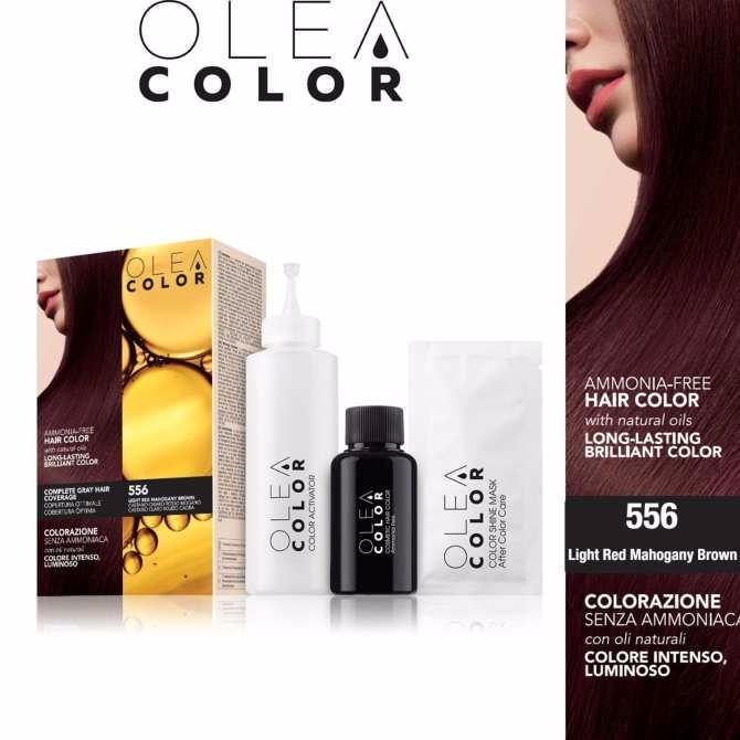 Kem nhuộm dưỡng tóc không Amoniac Olea Color ITALY #556 Light Red Mahogany Brown
