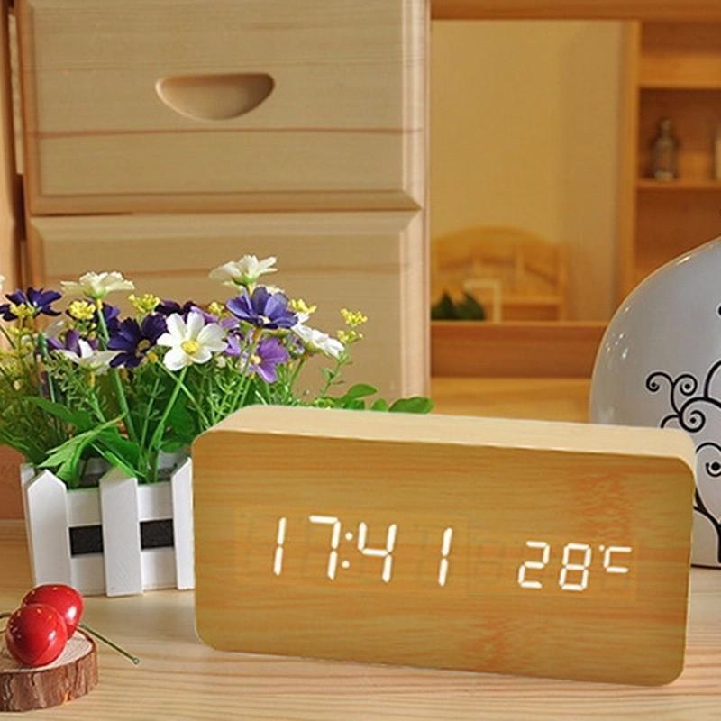 Đồng Hồ Gỗ Báo Thức Hình Chữ Nhật Wood LED Digital thông minh (vàng) bán chạy