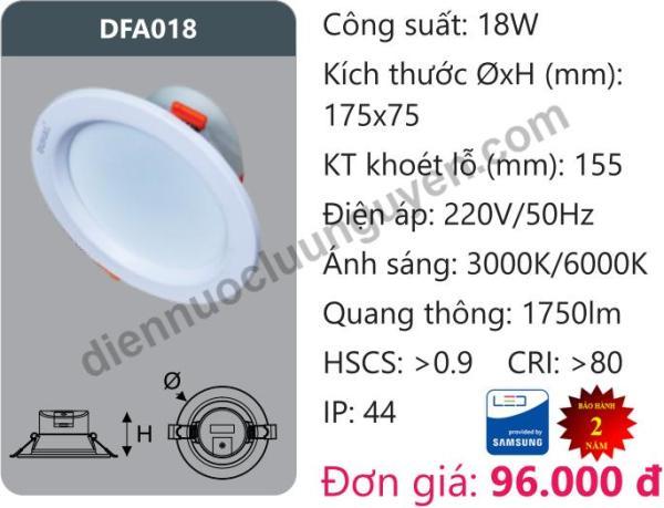 Đèn Led âm trần Downlight Tán Quang Chiếu Sâu 18W DUHAL DFA018