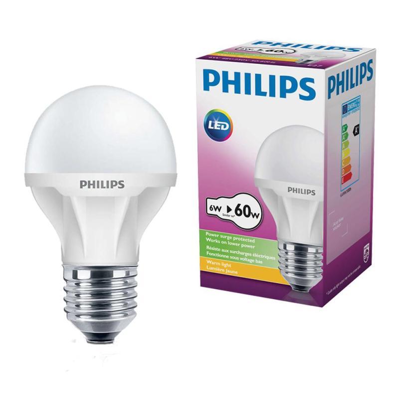 Bộ 6 Bóng đèn Philips LED ECoBright 6W đuôi E27 48V-230V A60 ánh sáng (Trắng)
