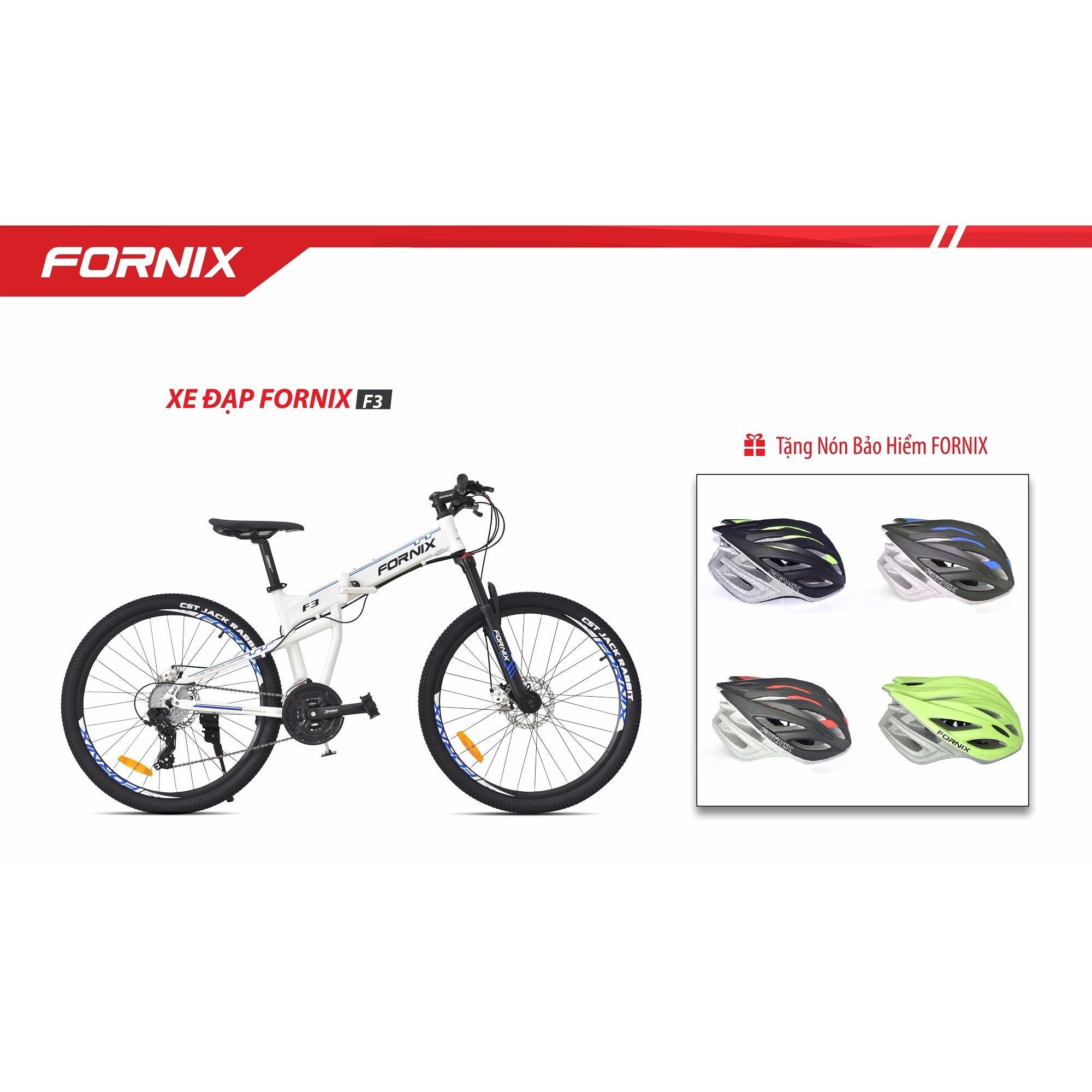 Xe đạp gấp địa hình thể thao Fornix F3 (trắng xanh)+ tặng nón bảo hiểm A02NX1