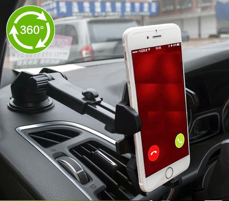 Giá đỡ kẹp điện thoại trên xe hơi, ô tô kéo dài, thu hẹp (ĐEN)