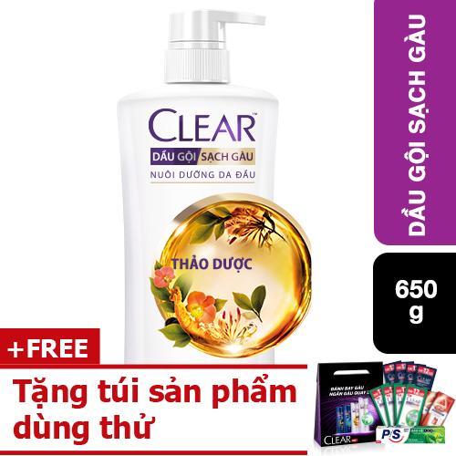Dầu gội Clear thảo dược trị gàu 650g tặng túi sản phẩm dùng thử tốt nhất