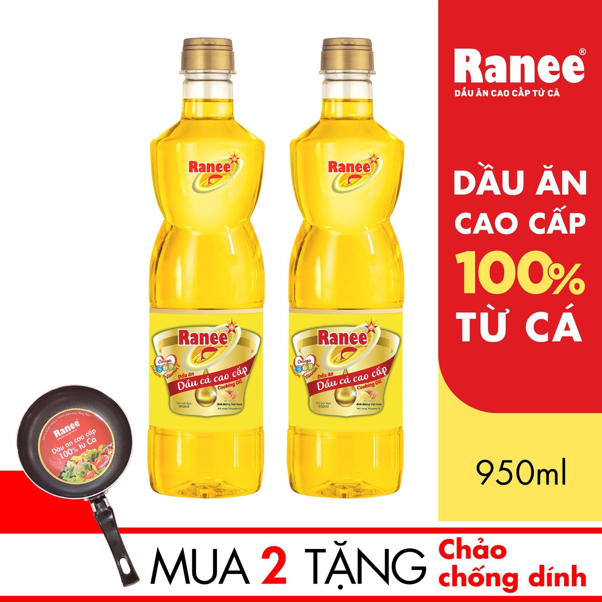 Hình ảnh Combo 2 chai Dầu ăn cao cấp từ cá Ranee 950ml + Tặng 1 chảo chống dính cao cấp