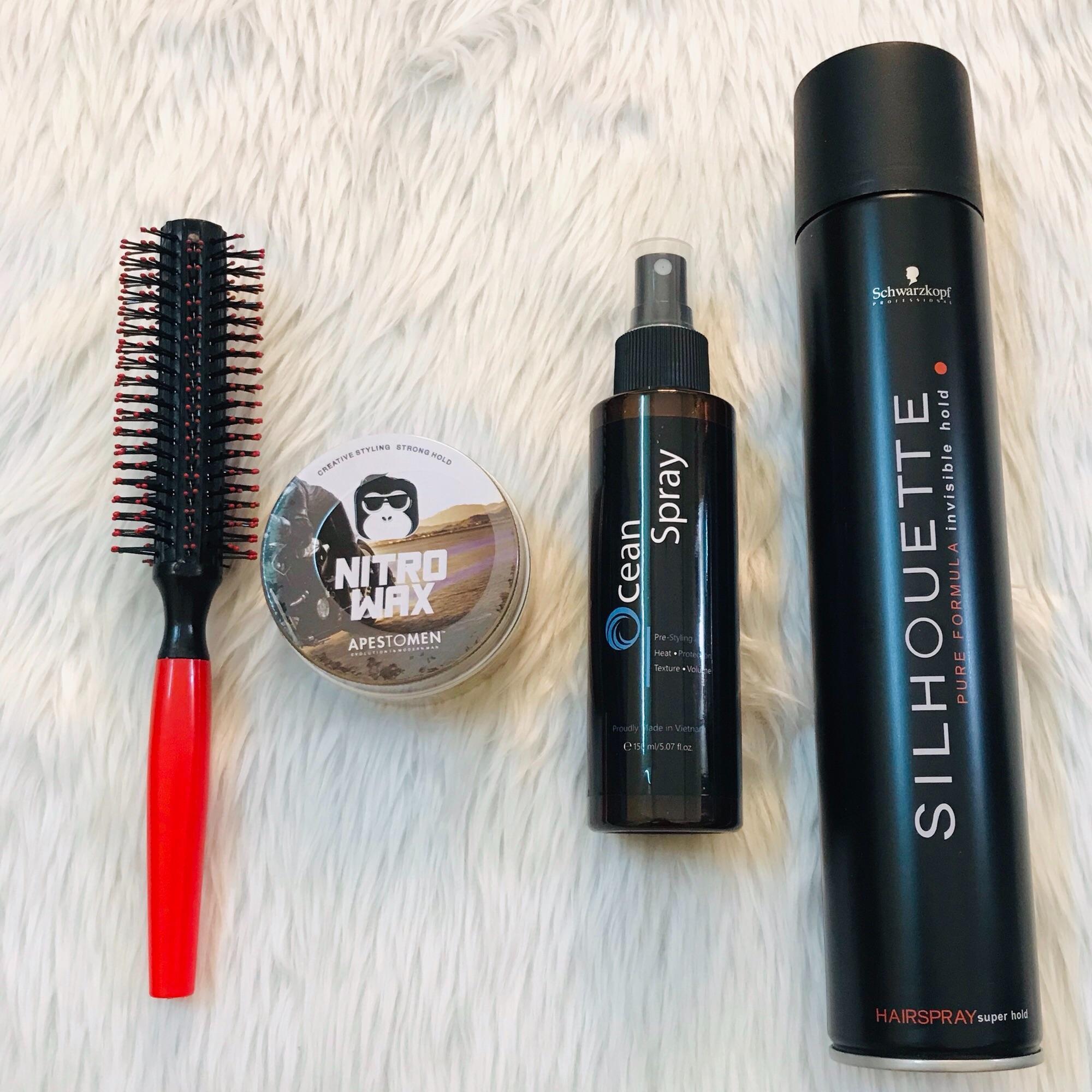 Combo sáp vuốt tóc Nitro Wax nắp nhôm + gôm Silhouette + Ocean Spray + lược tròn