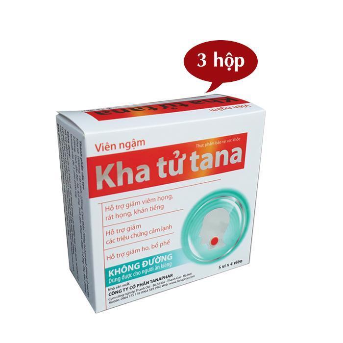 Hình ảnh Combo 3 hộp ngậm ho Kha tử Tana không đường, dành cho người tiểu đường, ăn kiêng (20 viên/hộp)