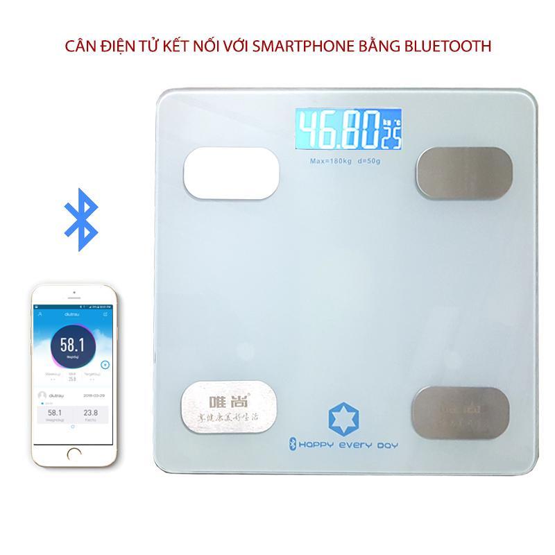 Cân điện tử sức khỏe thông minh Y160 kết nối với smartphone bằng bluetooth (màu bạc) nhập khẩu