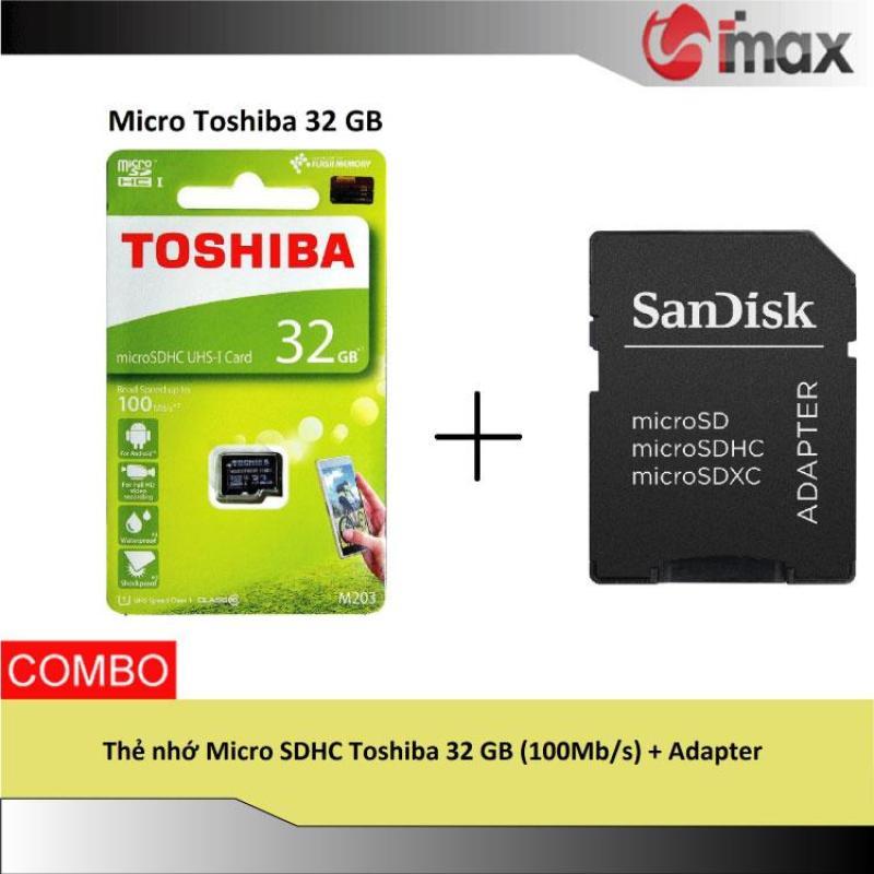 Thẻ nhớ Micro SDHC Toshiba 32 GB (100Mb/s) + Adapter