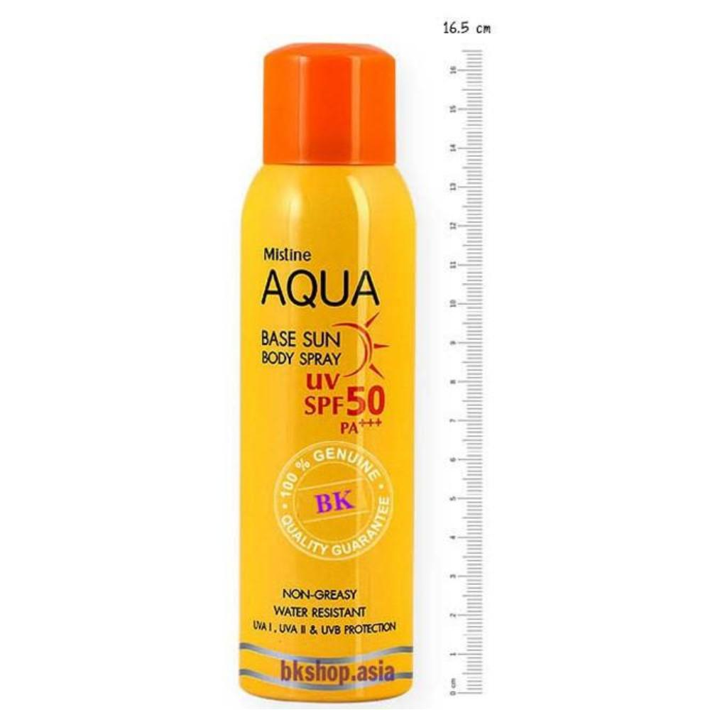 Kem chống nắng dạng xịt Aqua Base Sun Body Spray Mistine UV Spf 50 pa+++ tốt nhất