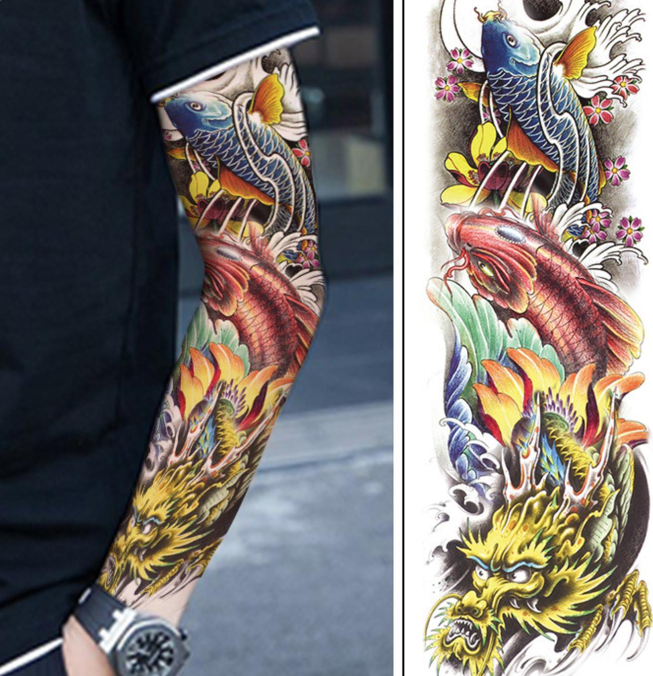 Hình ảnh Combo 2 tấm hình xăm dán tattoo kín tay cá chép 17x48cm tuyệt đẹp (Chọn mẫu tùy thích. Mua 1 tặng 1)