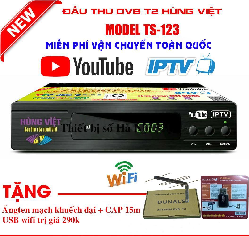 Giá Đầu thu truyền hình mặt đất TS123 Youtube( Tặng ăngten khuếch đại+ dây cáp 15m + usb thu wifi)