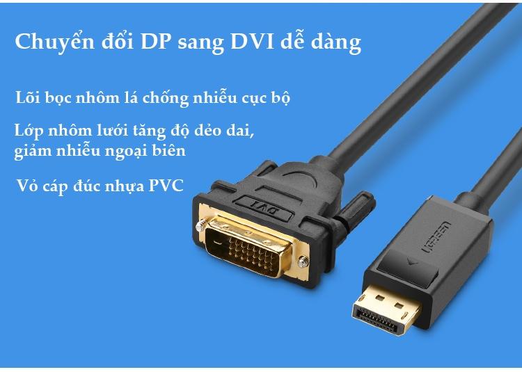 Dây cáp DisplayPort đực sang DVI-D (24+1) đực hỗ trợ 1920x1200 dài 1-8M UGREEN DP103