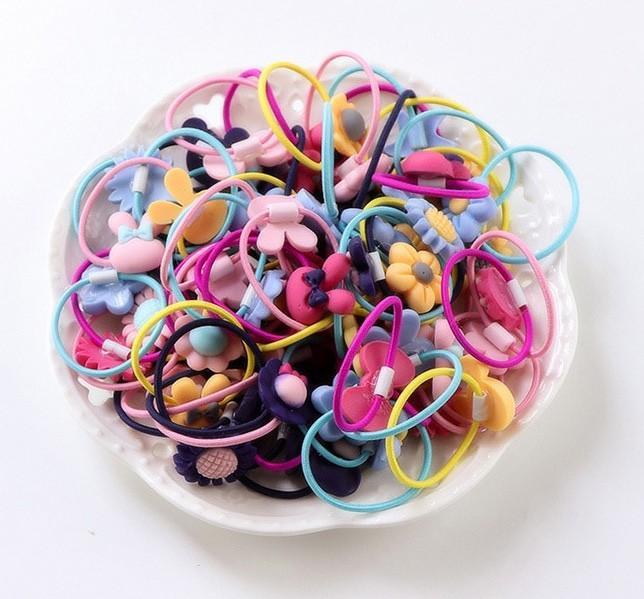 Hình ảnh Bộ 50 dây buộc tóc dễ thương cho bé gái + Tặng kèm thẻ tích điểm
