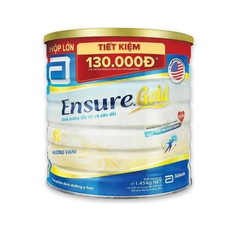 Lon sữa bột Ensure Gold hương vani 1.45kg