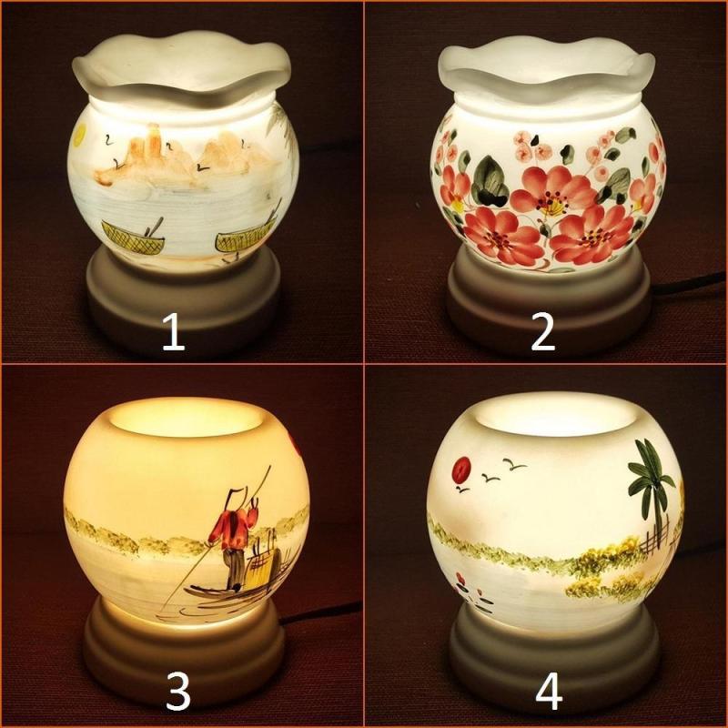 Đèn xông tinh dầu sứ Bát Tràng cỡ TO 11 x 13cm / Đuổi muỗi Diệt muỗi Đèn trang trí