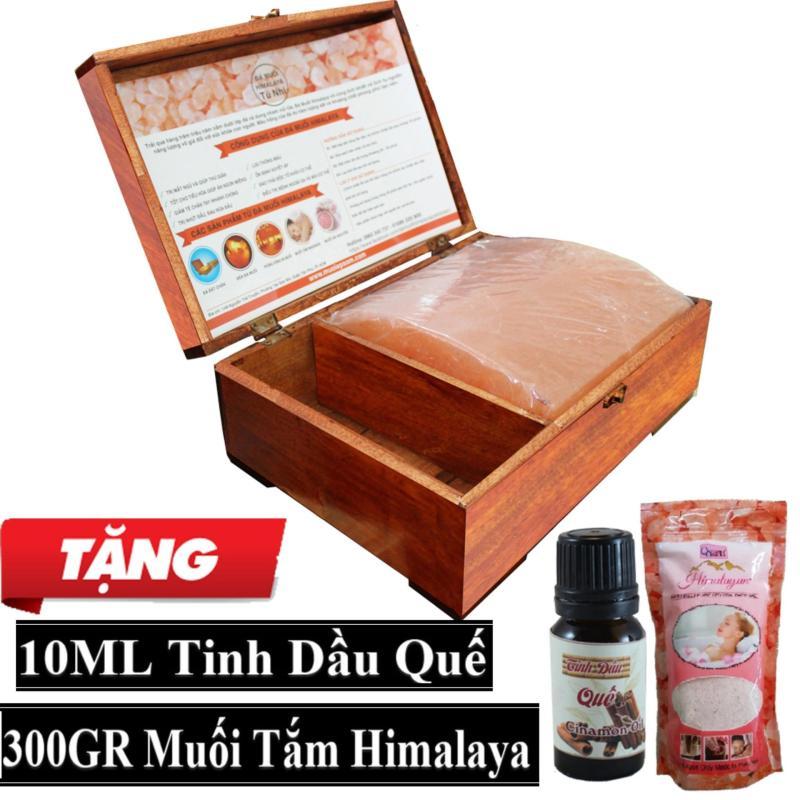 Hộp Đèn Đá Muối Hồng Mặt Cong Massage + Tặng Túi Muối Tắm Himalaya 300gr + 10ml Tinh Dầu Quế nhập khẩu