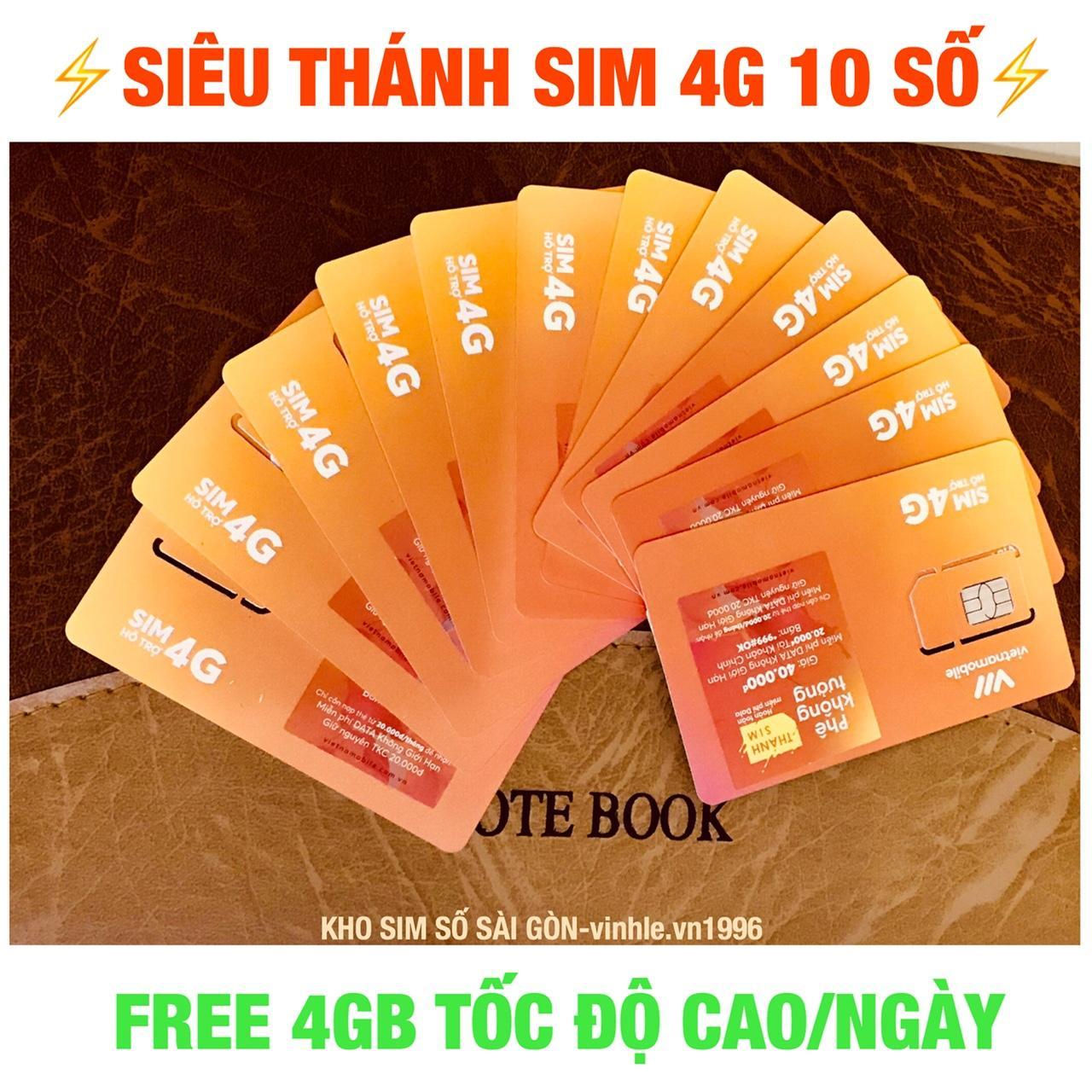 Hình ảnh Thánh Sim 4G 10 Số FREE 4Gb/ngày -thanh sim 4G Vietnamobile