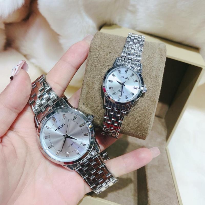 Đồng hồ nữ mạ vàng cao cấp Halei dây trắng mặt trắng 502