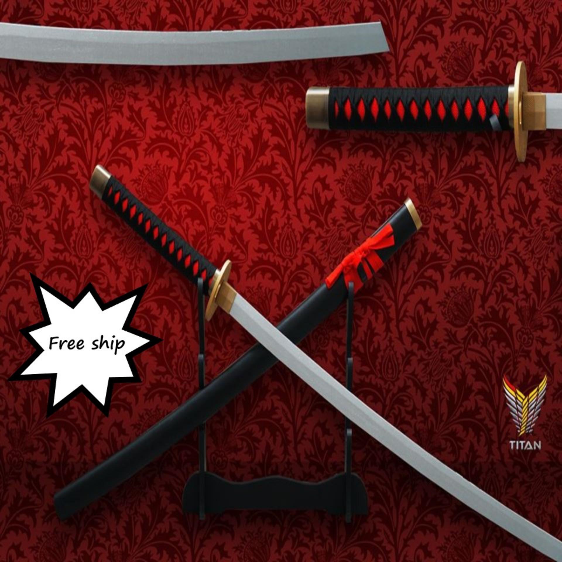 Hình ảnh [MIỄN PHÍ VẬN CHUYỂN] Kiếm gỗ katana đen đỏ lưỡi bạc