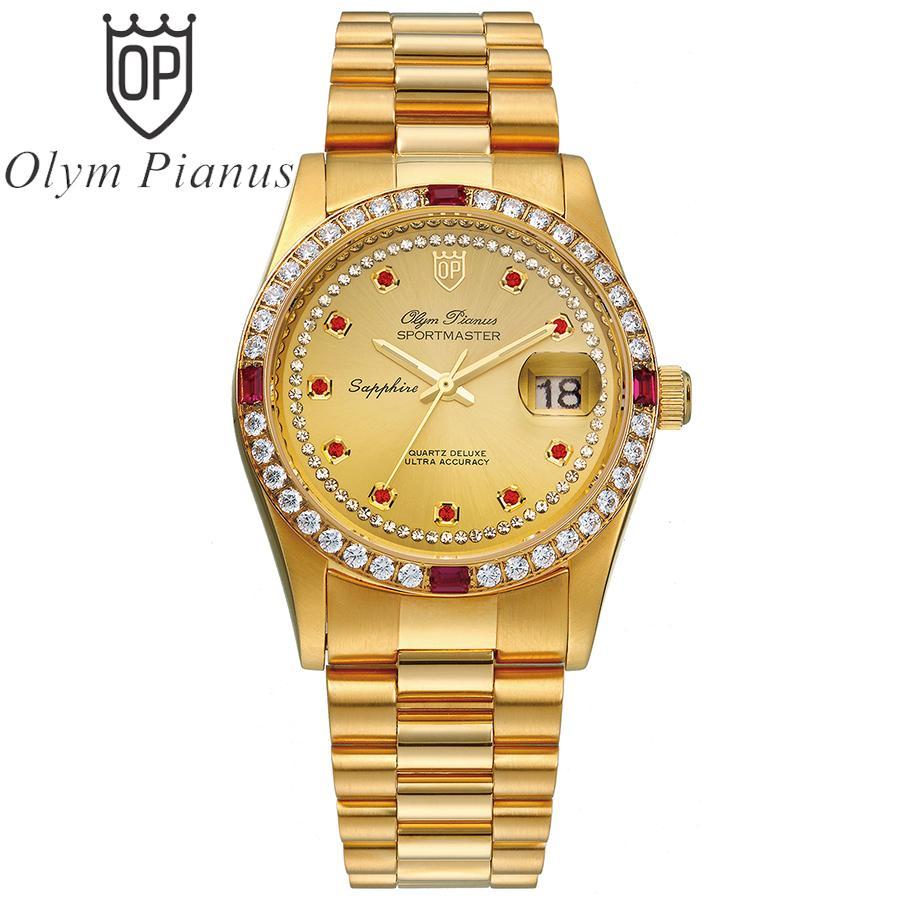 Đồng hồ nam mặt kính sapphire Olym Pianus OP89322DK vàng hạt đỏ bán chạy