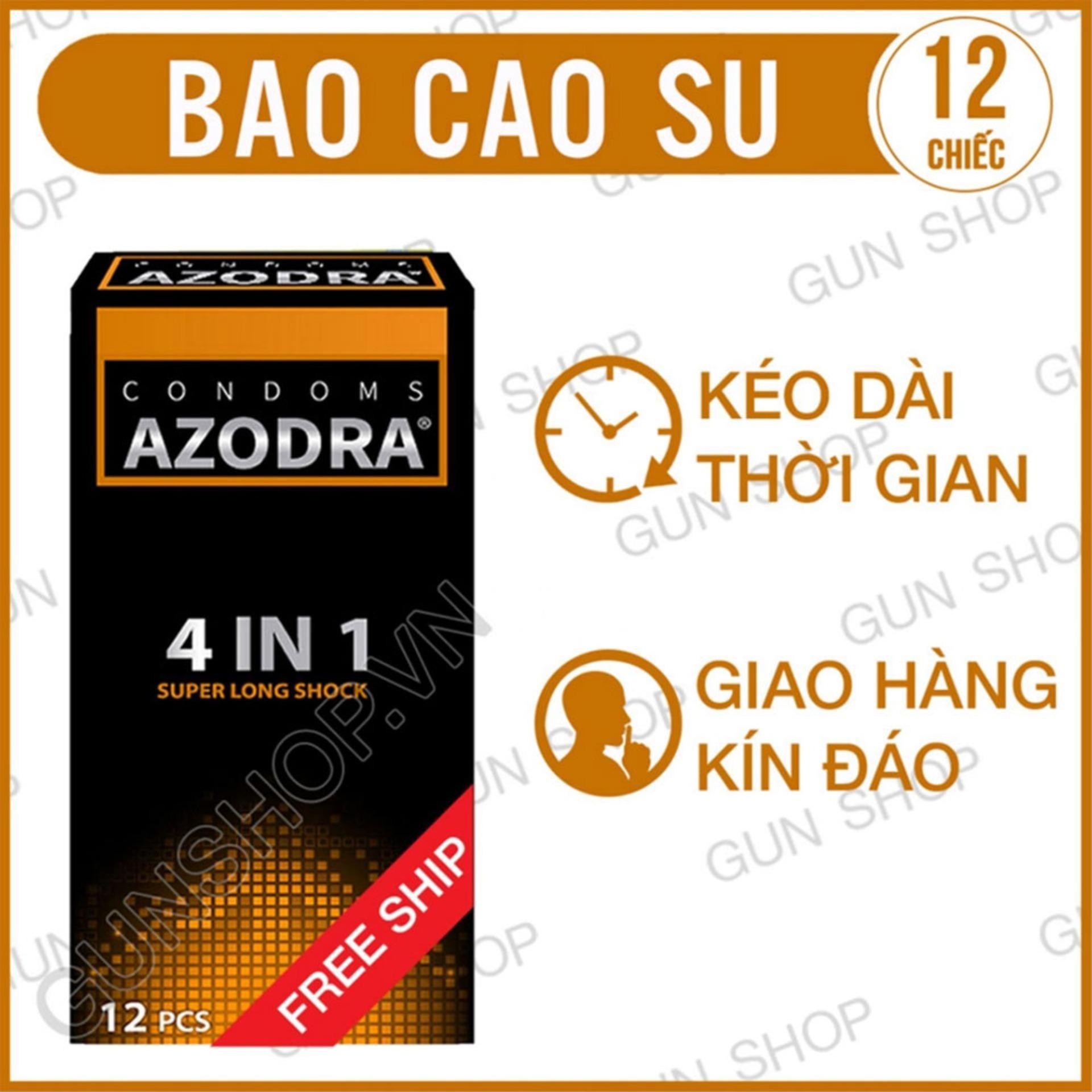 Bao Cao Su Azodra Tổng Hợp Gân, Gai, Mỏng, Kéo Dài Thời Gian Quan Hệ ( hộp 12 chiếc ) - [ Gunshop-BCS01 ]
