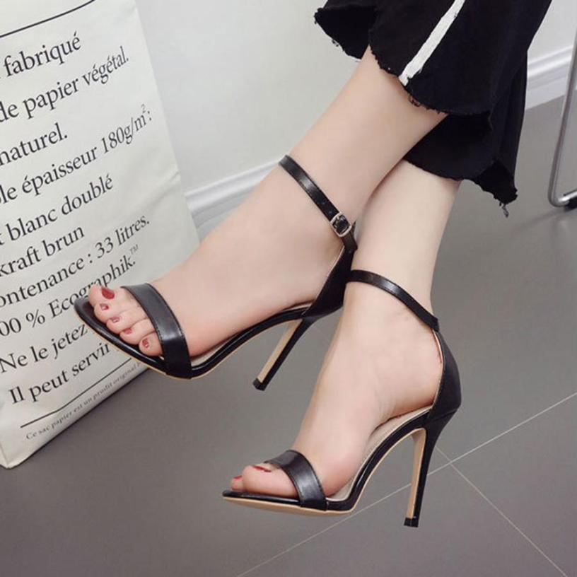 Giày cao gót quai ngang mảnh 10 phân đen giá rẻ