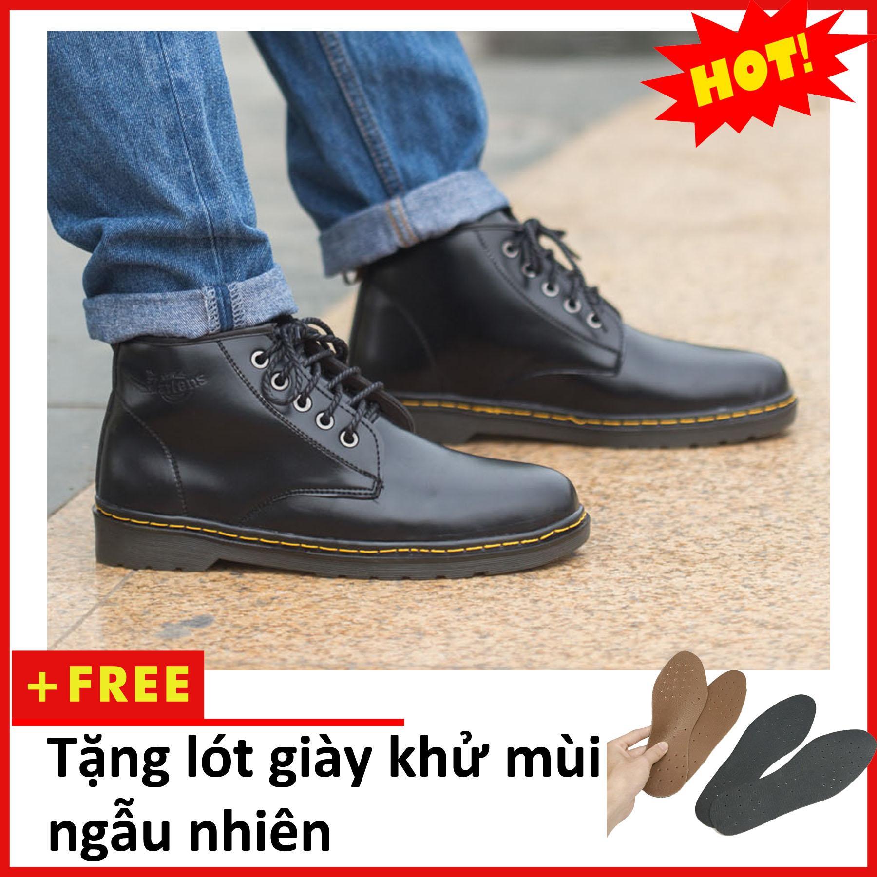 Giày Dr Nam Cổ Lửng Đế Khâu Da Trơn Đen - Giày Bốt Cao Cổ Nam - Giày Đốc Nam Da Đẹp - M354+L-DEN