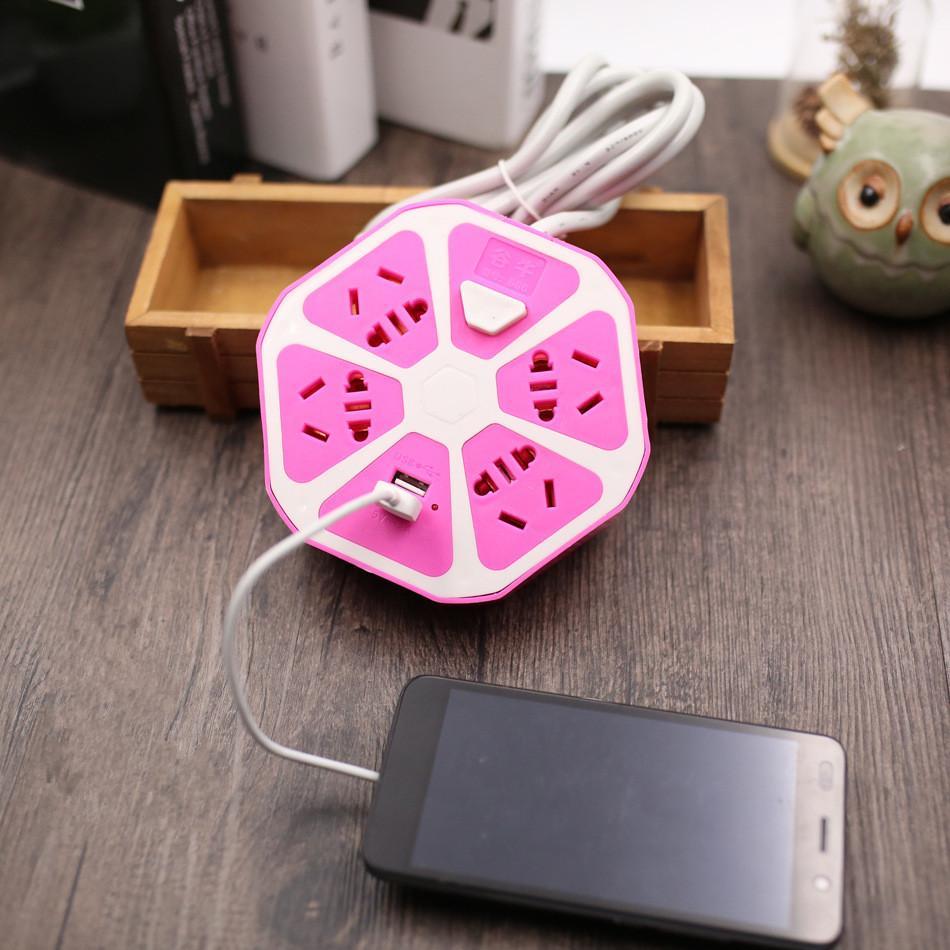 Ổ Cắm Điện Hình Trái Cam Có 2 Cổng USB + 4 ổ cắm -Dây Dài 1.5m (Phích cắm 3 chấu) giá rẻ