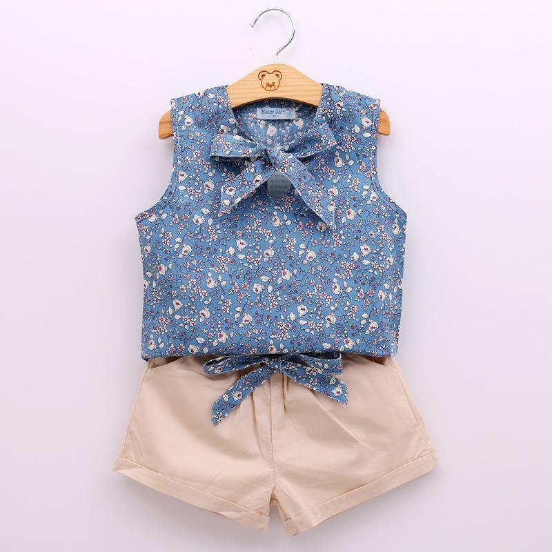 Hình ảnh Set bộ đồ đi học hoa nhí bé gái