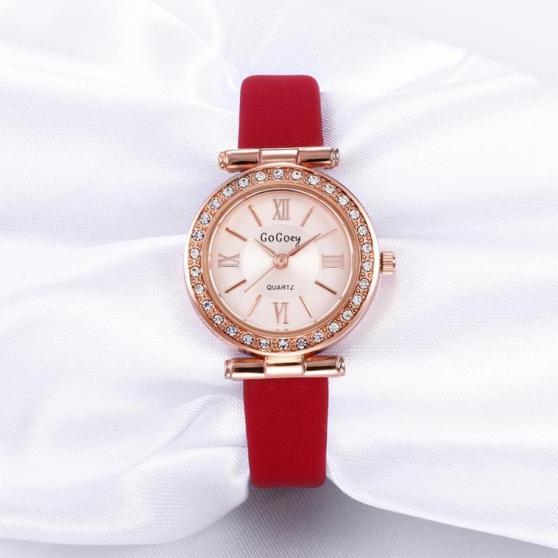 Nơi bán Đồng hồ nữ GOGOEY dây da số la mã viền đính đá lấp lánh cao cấp JS-G5068