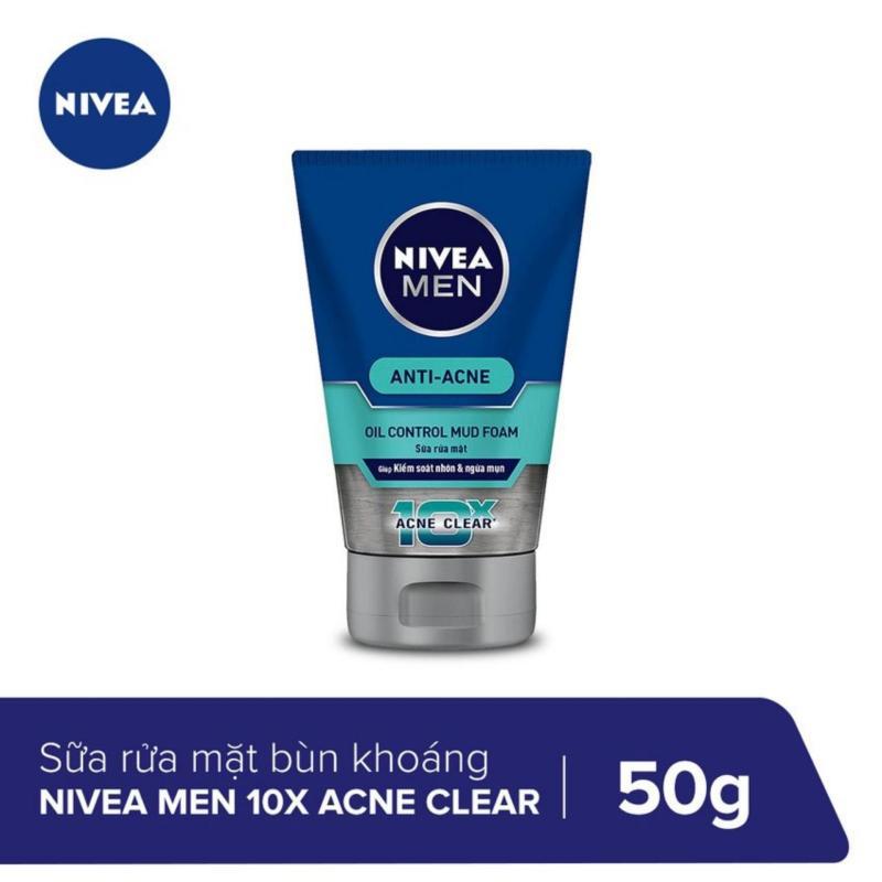 Sữa Rửa Mặt Bùn Khoáng Mát Lạnh Nivea Men 10X Acne Clear Cooling Mud Face Wash 50g _ 83941