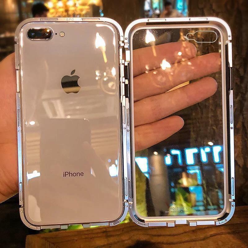 Hình ảnh Ốp lưng kính likgus 360 hút nâm châm viền kim loại dành cho dòng máy iPhone (iP6/iPX)
