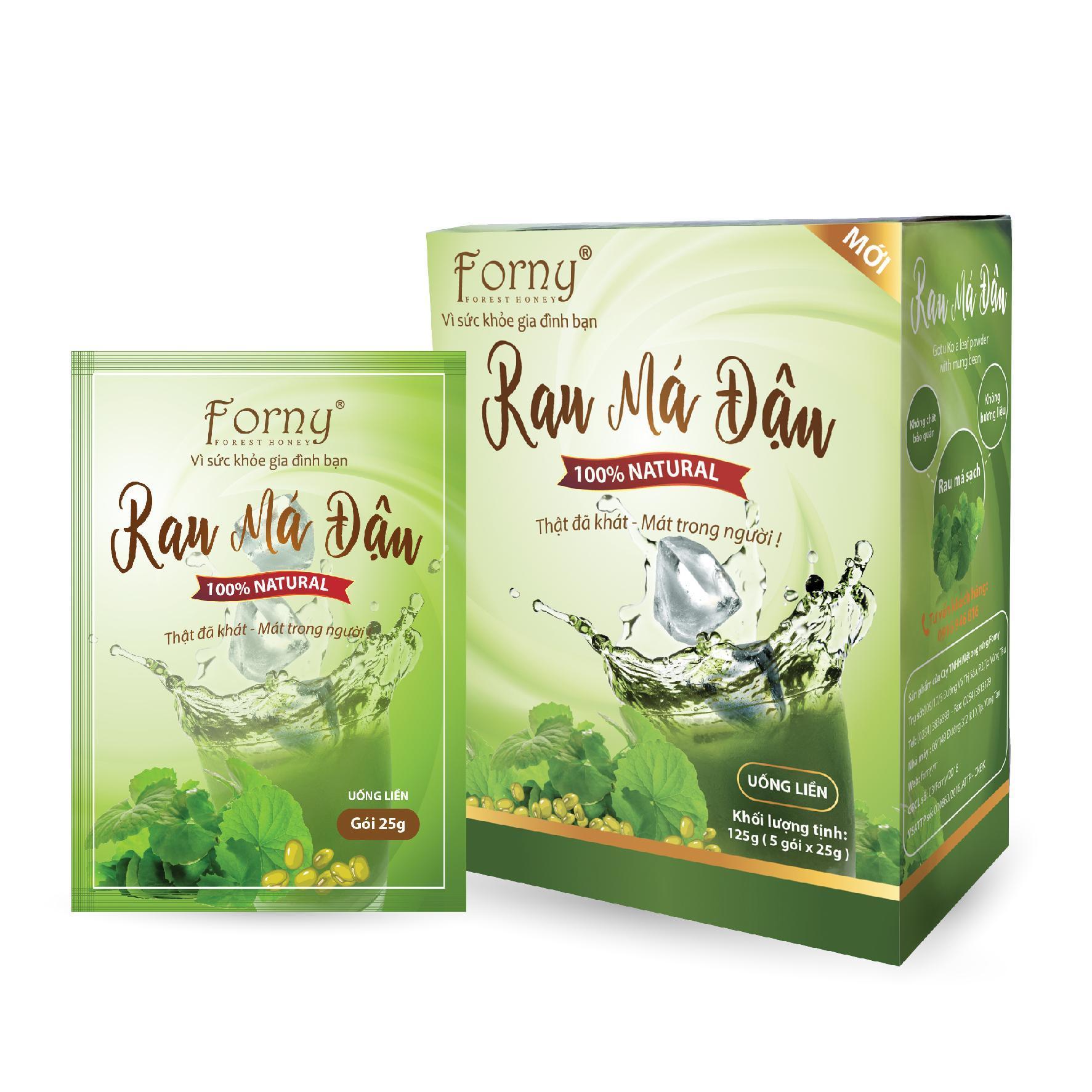 Rau Má Đậu Xanh Forny (rau má và đậu xanh giúp đẹp da, mát trong người, giải khát, giải nhiệt, bồi bổ sức khỏe)