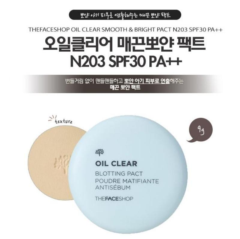 Phấn phủ kiềm dầu TheFaceShop Oil Clear Smooth & Bright Pact SPF30 PA++