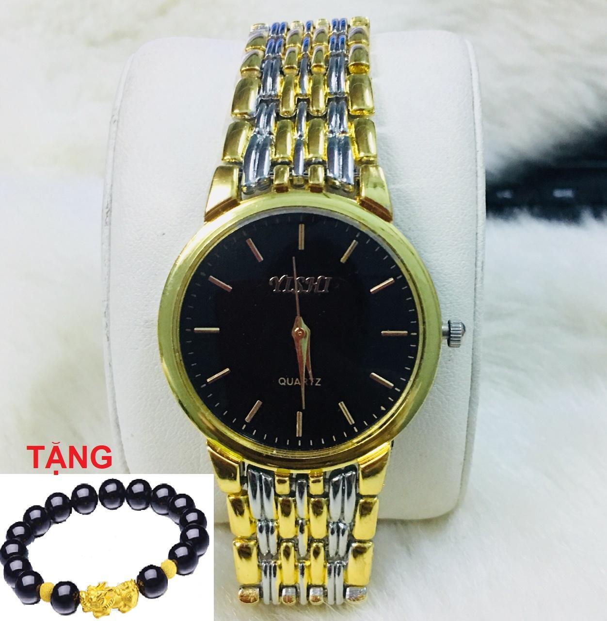 Nơi bán Đồng hồ nam dây kim loại Yishi mẫu NEW TẶNG vòng tỳ hưu may mắn (mặt trắng/mặt đen)