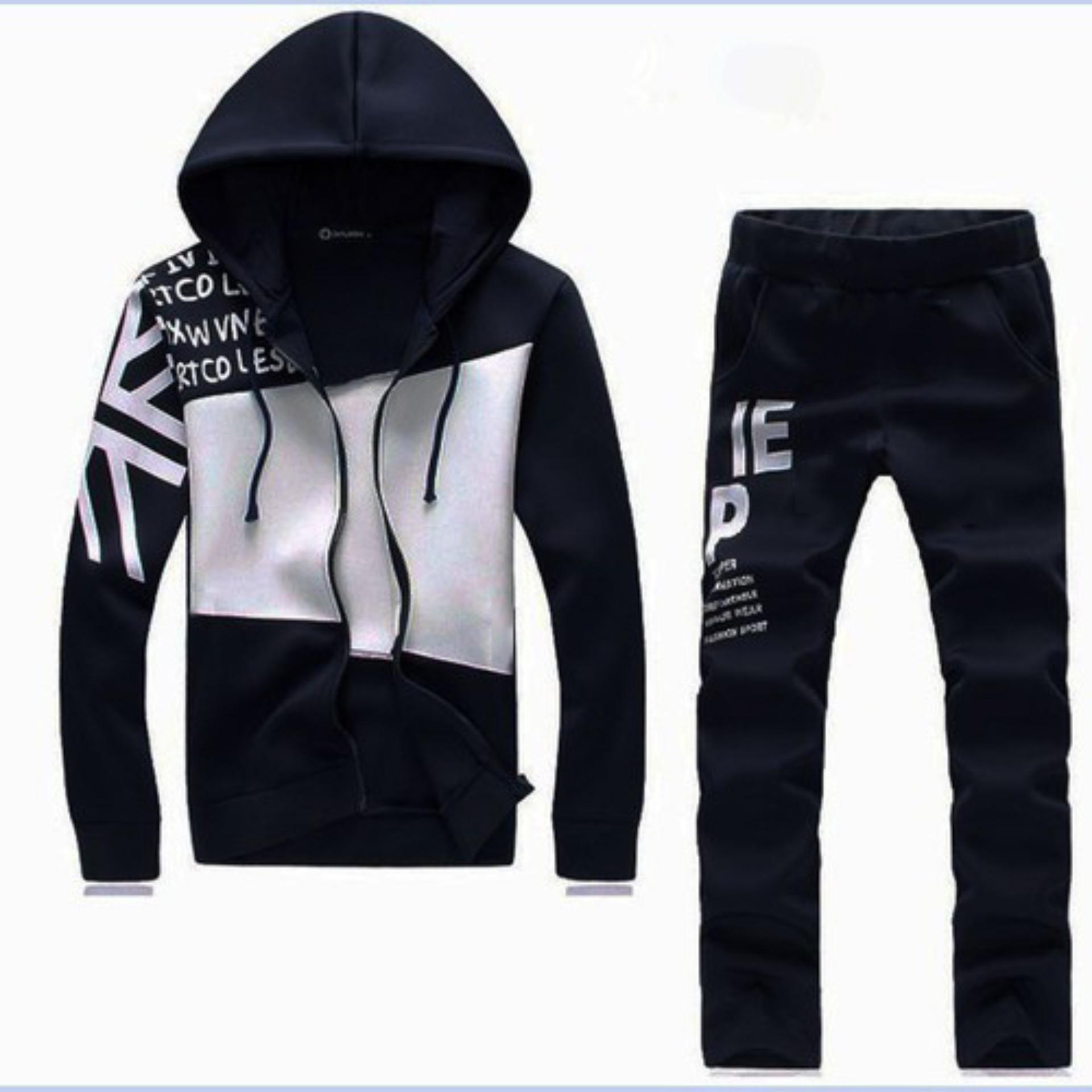 Hình ảnh Set quần áo nam dài tay khóa kéo phối màu thời trang Xưởng May giá rẻ MEN QA 10016 (đen)