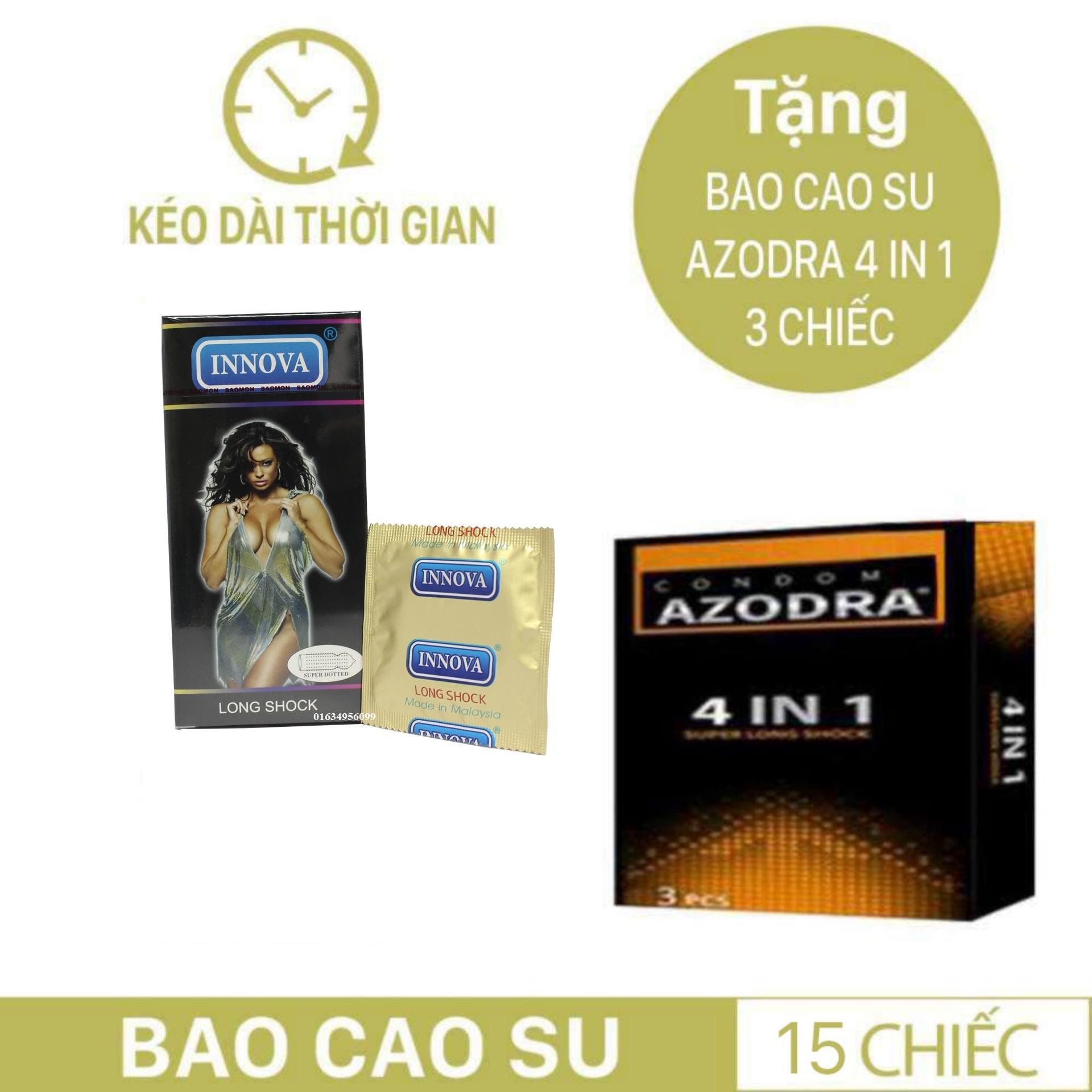 Combo 1 hộp Bao cao su siêu gân gai kéo dài thời gian INNOVA tặng 1 hộp BCS AZODRA nhập khẩu