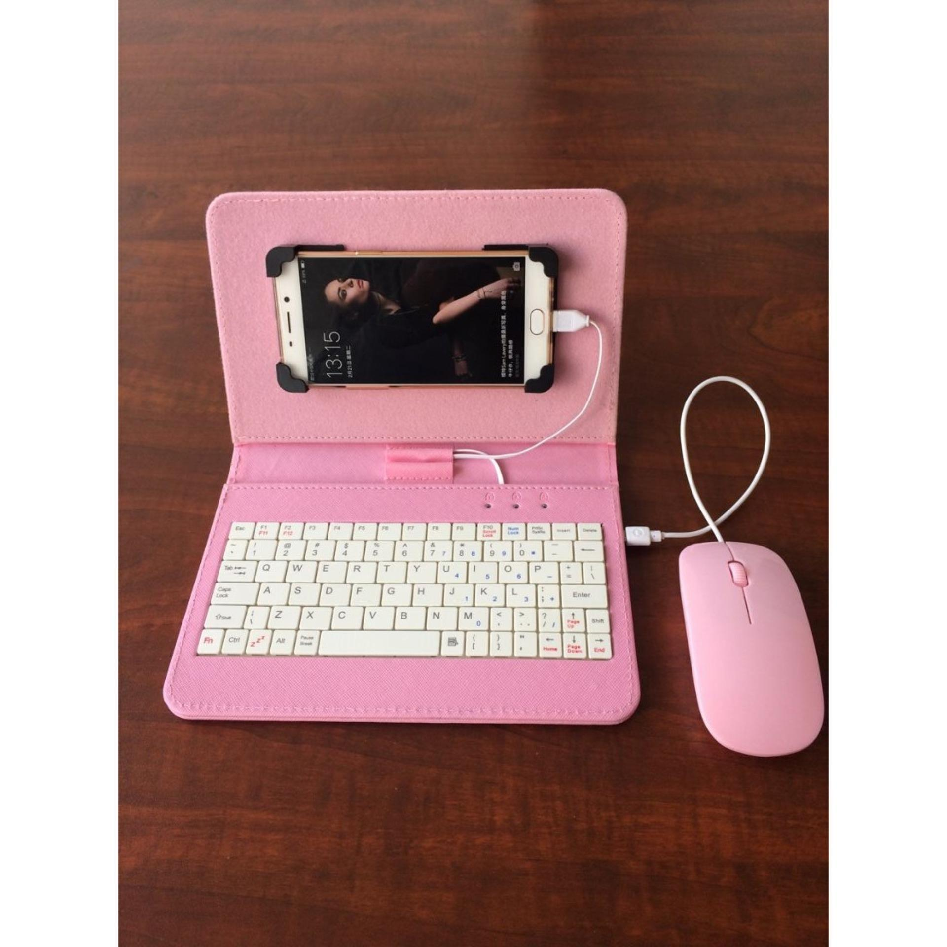 Combo bao da bàn phím kèm chuột + lót chuột cho điện thoại, máy tính bảng từ 4.5-8 inch