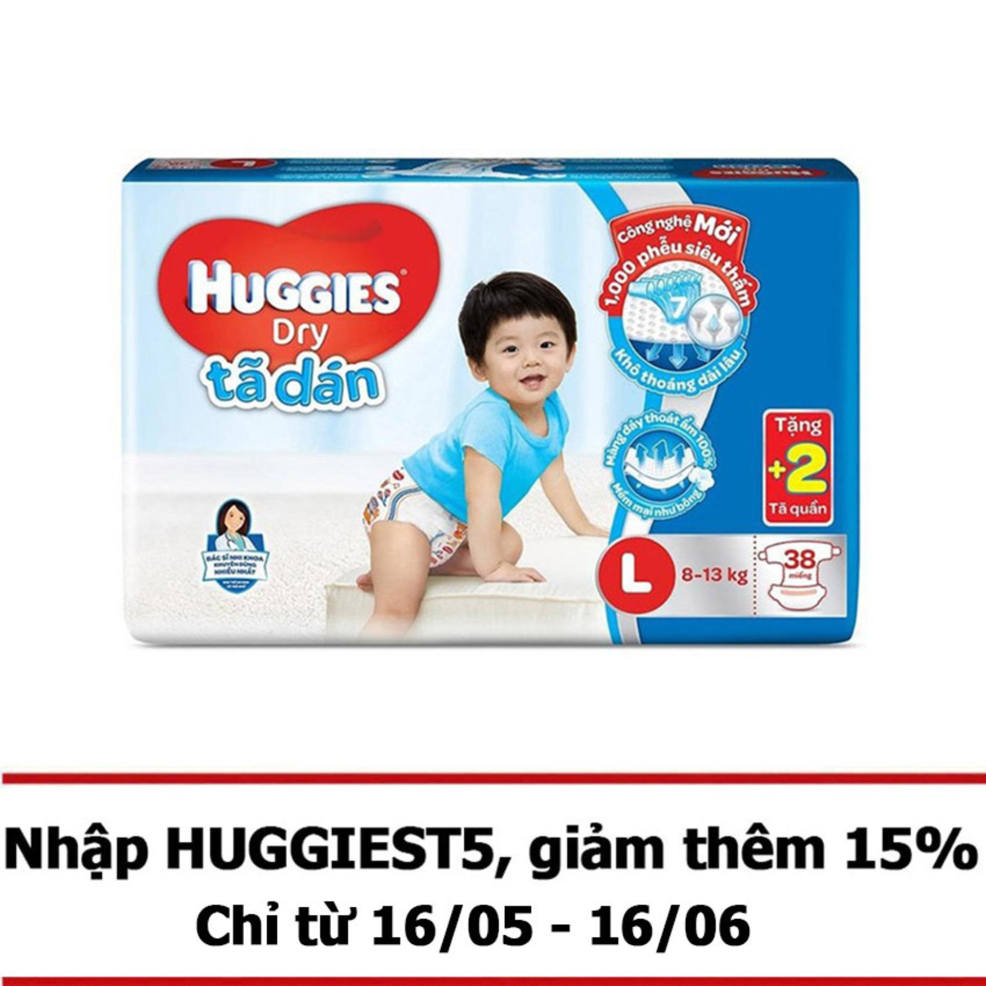 Tã dán Huggies L38 38 miếng (8–13kg) + Tặng 2 miếng tã quần
