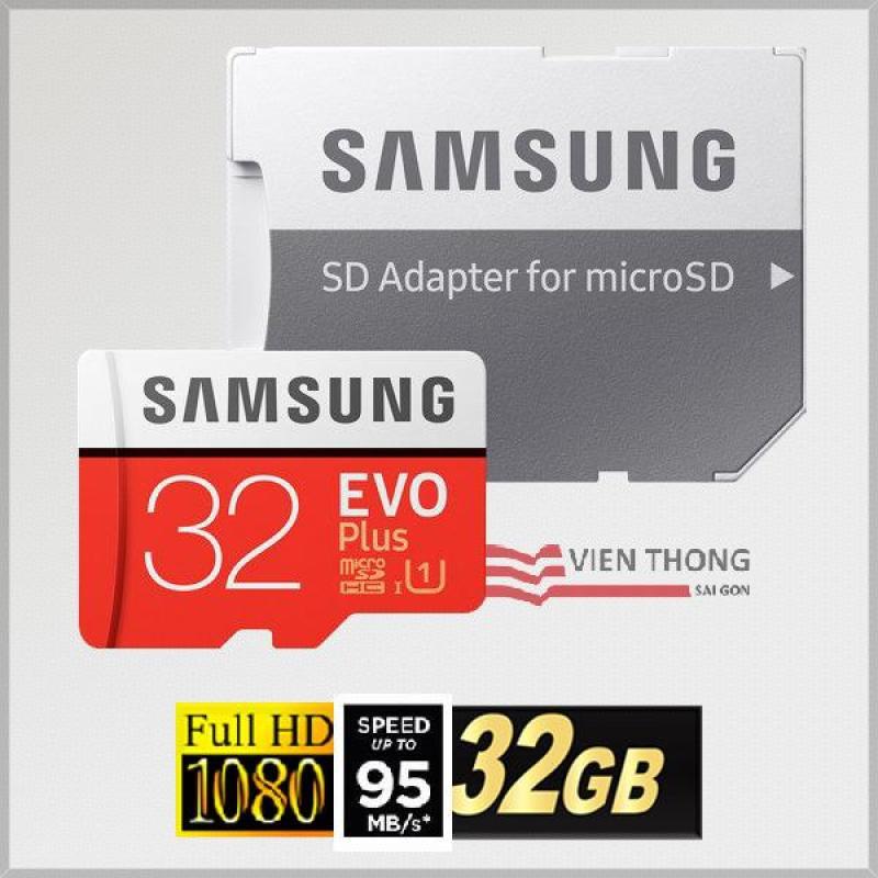 Thẻ nhớ MicroSDHC Samsung EVO Plus 32GB 95MB/s Adapter (Màu đỏ) - Hãng phân phối chính thức